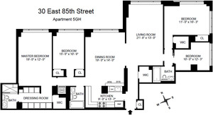 floorplan for 30 East 85th Street #5GH