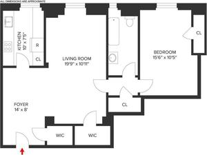 floorplan for 210 West 90th Street #2K