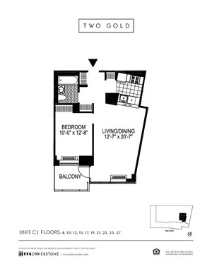 floorplan for 2 Gold Street #27C