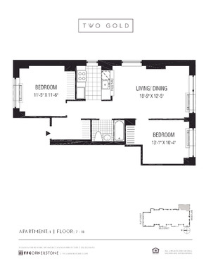 floorplan for 2 Gold Street #701