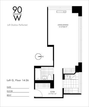 floorplan for 90 Washington Street #16G