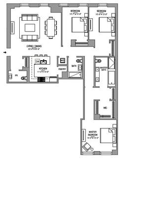 floorplan for 55 West 17th Street #704