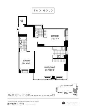 floorplan for 2 Gold Street #3803