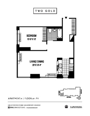 floorplan for 2 Gold Street #PH9