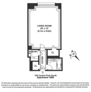 floorplan for 150 Central Park South #1009
