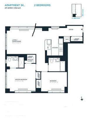 floorplan for 305 West 16th Street #3K