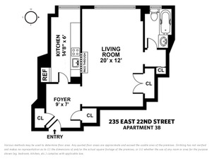 floorplan for 235 East 22nd Street #3B