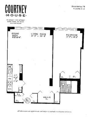 floorplan for 55 West 14th Street #2N