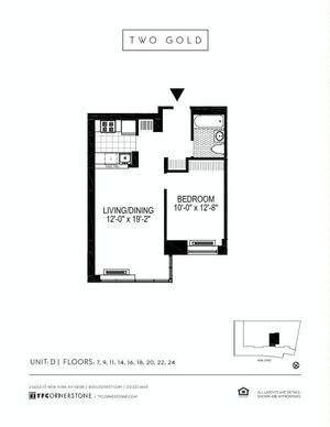 floorplan for 2 Gold Street #18D