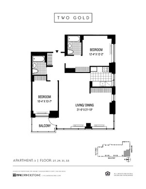 floorplan for 2 Gold Street #3303