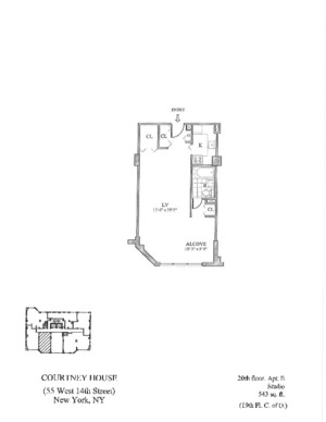 floorplan for 55 West 14th Street #20E
