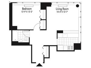 floorplan for 601 West 57th Street #14M