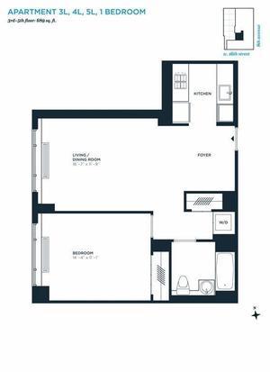 floorplan for 305 West 16th Street #3L