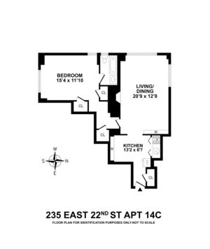floorplan for 235 East 22nd Street #14C