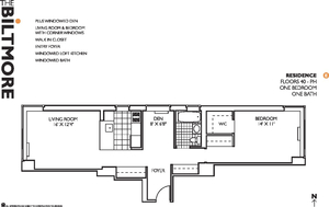 floorplan for 271 West 47th Street #43E