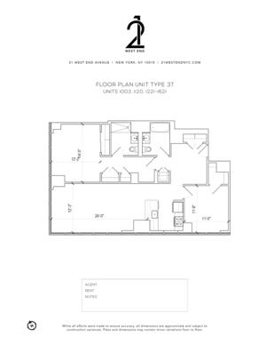 floorplan for 21 West End Avenue #1621