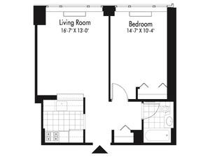floorplan for 601 West 57th Street #24P