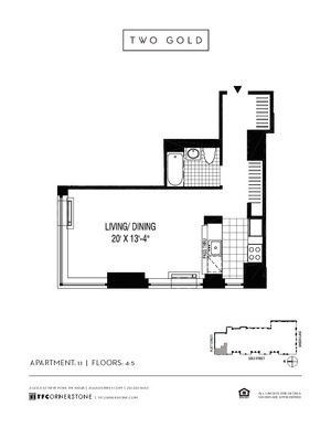 floorplan for 2 Gold Street #411