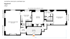 floorplan for 150 Central Park South #2301