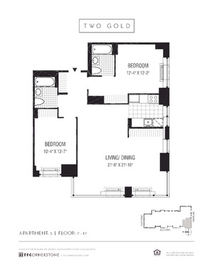 floorplan for 2 Gold Street #1503