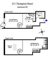 floorplan for 211 Thompson Street #6B