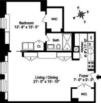 floorplan for 1 Fifth Avenue #17E