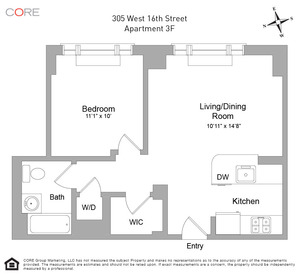 floorplan for 305 West 16th Street #3F