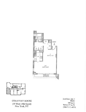 floorplan for 55 West 14th Street #21F
