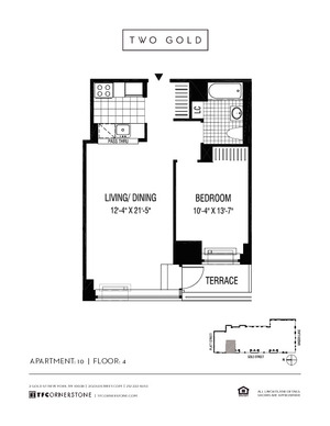 floorplan for 2 Gold Street #410