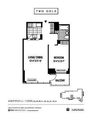floorplan for 2 Gold Street #4306