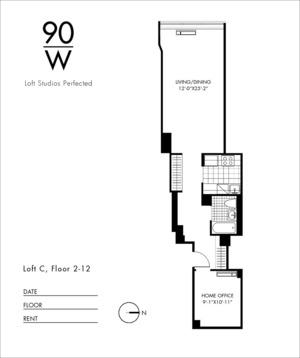 floorplan for 90 Washington Street #3C