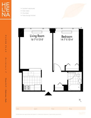 floorplan for 601 West 57th Street #16P