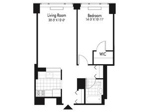 floorplan for 601 West 57th Street #19R