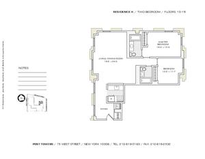 floorplan for 75 West Street #15K