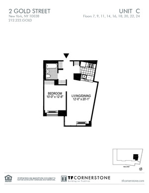 floorplan for 2 Gold Street #18C