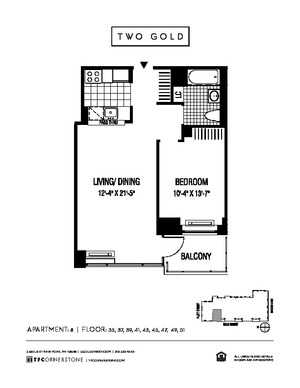 floorplan for 2 Gold Street #3908