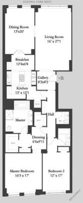 floorplan for 15 Central Park West #30B