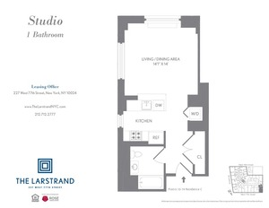 floorplan for 227 West 77th Street , #14C