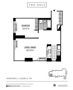 floorplan for 2 Gold Street #4409