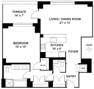 floorplan for 15 Central Park West #6H