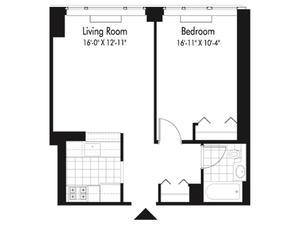floorplan for 601 West 57th Street #27P
