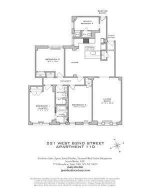 floorplan for 221 W 82nd Street #11D