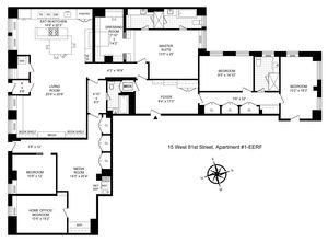 floorplan for 15 West 81st Street #1E