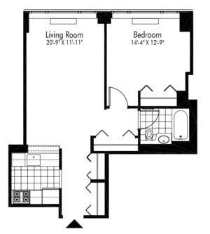 floorplan for 601 West 57th Street #15S