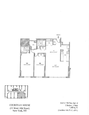 floorplan for 55 West 14th Street #15D