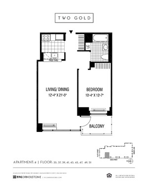 floorplan for 2 Gold Street #3508