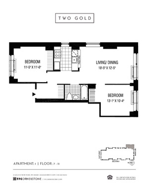 floorplan for 2 Gold Street #1101