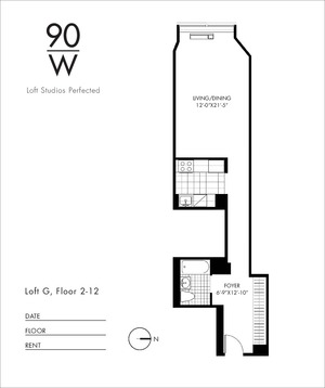 floorplan for 90 Washington Street #2G