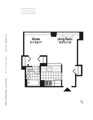 floorplan for 601 West 57th Street #18A