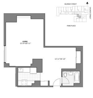 floorplan for 50 Murray Street #A13